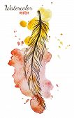 stock photo of feathers  - Beautiful vector image with nice watercolor feather - JPG