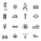 picture of rap  - Rap music street style singing black icons set isolated vector illustration - JPG