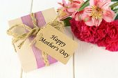 stock photo of wood craft  - Gift box with Happy Mother - JPG
