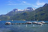 picture of annecy  - boats moored on Lake Annecy in Spring - JPG