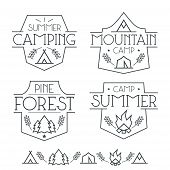 stock photo of wigwams  - Camping badges and icons in thin line style - JPG
