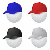 picture of ball cap  - Set of cap on golf balls - JPG