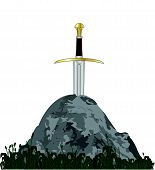 stock photo of longsword  - Excalibur King Arthurs sword in the stone over a white background - JPG