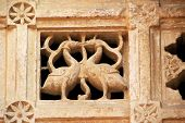 picture of jain  - Stone ventilator with etched in twin ducks at Jain Temple Jaisalmer Fort Jaisalmer Rajasthan India Asia - JPG