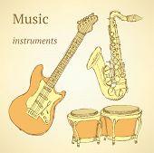 image of wind instrument  - Sketch musical instrument in vintage style vector - JPG