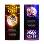 stock photo of club party  - Disco party banners vertical set with bright club balls isolated vector illustration - JPG