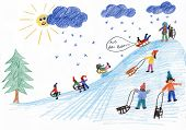 foto of sled  - sledding kids on the hill in winter  - JPG