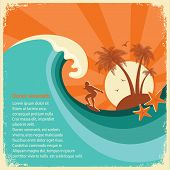 picture of tropical island  - Surfer and big sea wave tropical island - JPG