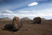 image of hughes  - Hugh volcanic bombs in the volcanic landscape of Lanzarote - JPG