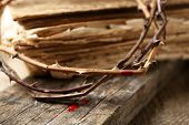 picture of crown-of-thorns  - Crown of thorns with blood and bible - JPG