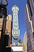 stock photo of skyscrapers  - Portland Oregon landmark sign and skyscraper architecture - JPG