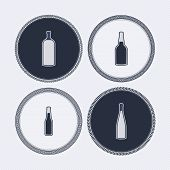foto of vodka  - 4 alcohol bottles icons shows off different bottles shapes like a vodka and a beer. Pictured here from left to right -  vodka cognac beer wine. - JPG