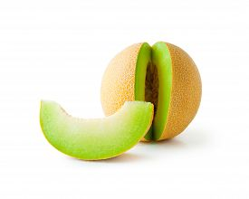 foto of honeydew melon  - Ripe fresh melon honeydew and a slice isolated on white background - JPG