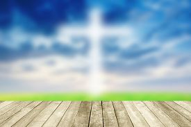 picture of epiphany  - Abstract Jesus on the cross blue sky with wooden paving - JPG