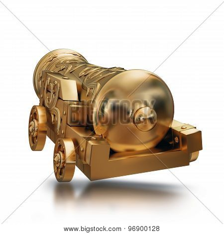 Illustration Gold Vintage Cannon Isolated