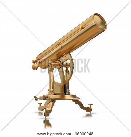 Illustration Golden Telescope Solated