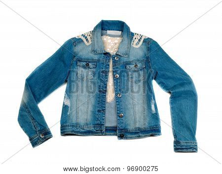 Blue Denim Jacket On A White Background