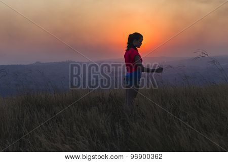 Teen Girl Happiness Rural Sunset