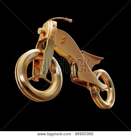 Illustration Of A Gold Motorcycle