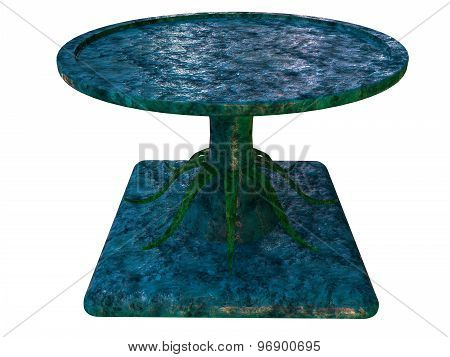 Textured Table 3D Render On White Background