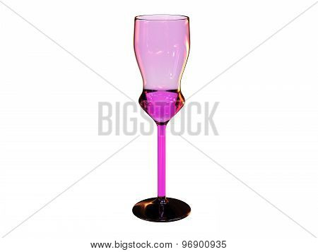 Pink Glass 3D Render On White Background