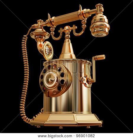 Illustration Of A Golden Retro-styled Telephone Isolated