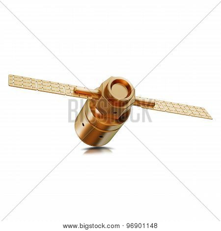 Illustration Of A Gold Toy Spacecraft Orbiting Isolated