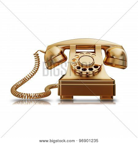 Illustration Of A Gold Retro Phone Isolated
