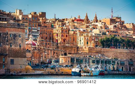 view on Valletta from The Grand Harbour in Malta