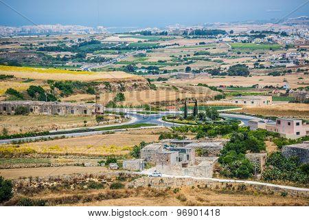 country scenery of Mdina in Malta