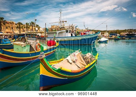 colorful fishing boat in the bay near Marsaxlokk in Malta