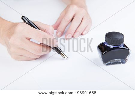 Female Hand Writes