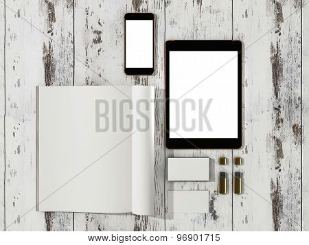 Open Magazine, Tablet, Business Cards Cover With Blank White Page Mockup On Vintage Wooden Substrate