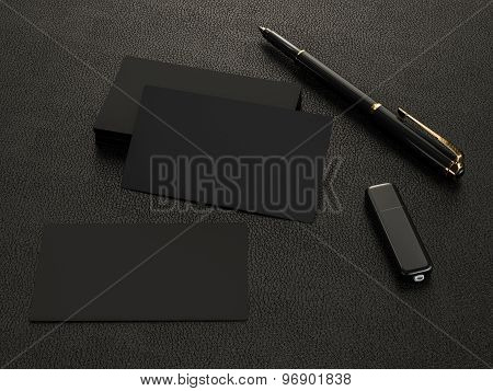 Black Business Cards Blank Mockup On Leather Background