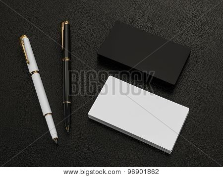 Black And White Business Cards Blank Mockup On Leather Background
