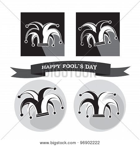 Vector Set From Dlack And White Silhouette Clowns Hat