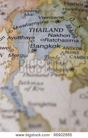 Macro of Thailand on a globe