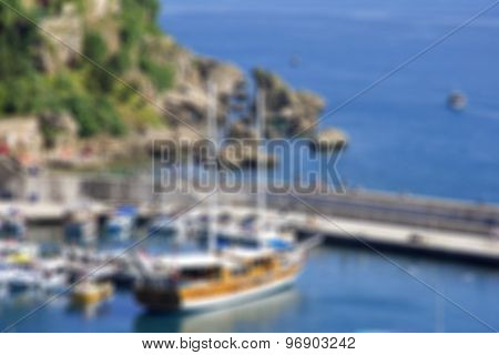 Turkey. Antalya Town.harbor. In Blur Style