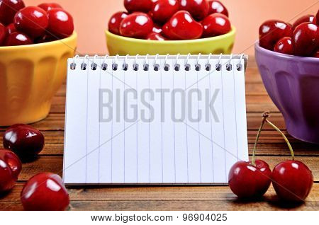 Empty Notepad With Cherries