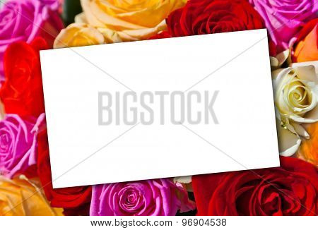 Roses bouquet and paper card - floral background