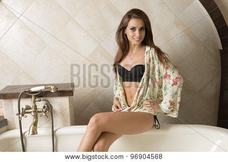 Happy Sexy Girl In Elegant Bath Tub
