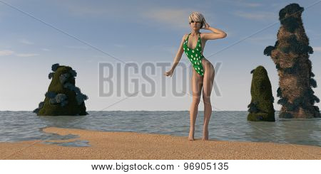 young blonde wearing green swimsuite on beach