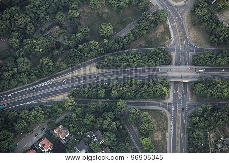 Aerial View Of Highway Intersection In Magdeburg