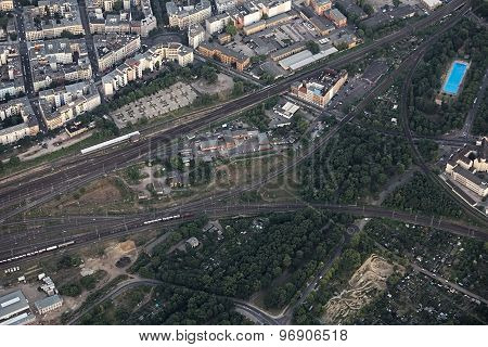 Aerial View Of Railway Intersection In Magdeburg
