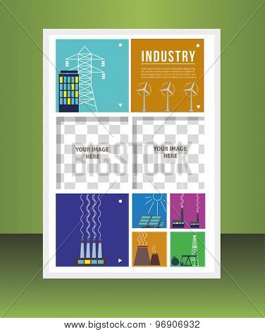 Industry. Vector  business brochure or magazine cover template