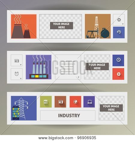 Industry. Set of web banners. Vector template.
