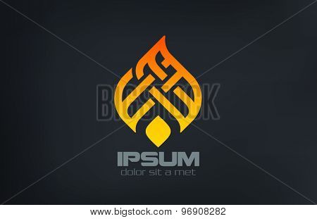 Fire Flame Ornament Silhouette Logo design vector template. Creative Ramadan torch concept logotype. Burn Campfire icon.