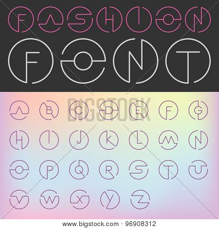 Fashion Font vector Creative Design glamour style. ABC Alphabet letters in circles. Use for Logo.