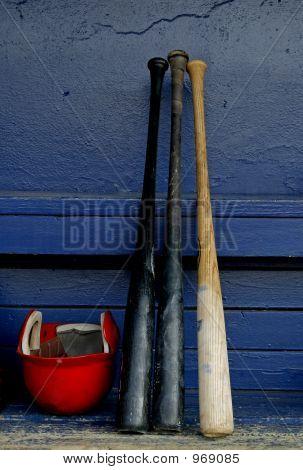 Baseball Bats And Helmet