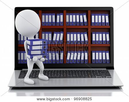 3D White People With Laptop And Files.